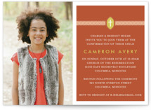 This is a orange confirmation invitations card by Dish and Spoon called Ribbon & Cross with standard printing on signature in standard.