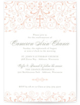 This is a pink confirmation invitations card by Sarah Brown called Graceful with standard printing on pearlescent in standard.