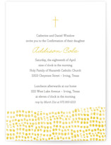 This is a yellow confirmation invitations card by Ann Gardner called Stepping Stones with standard printing on signature in standard.