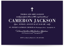 This is a blue confirmation invitations card by Sarah Brown called Veracious with standard printing on triplethick in standard.
