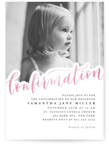 This is a pink confirmation invitations card by Anastasia Makarova called shining confirmation with standard printing on doublethick in standard.