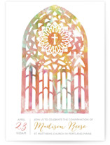 This is a orange confirmation invitations card by Lady Noble called Pretty Window with standard printing on triplethick in standard.