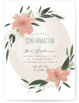 This is a pink confirmation invitations card by Leah Bisch called Floral Burst with standard printing on triplethick in standard.