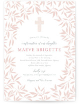 This is a pink confirmation invitations card by Paula Pecevich called Blessed Laurels with standard printing on signature in standard.