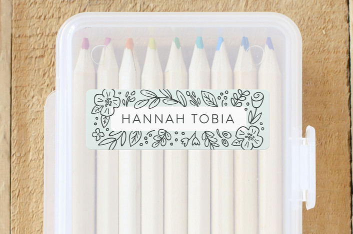 """""""Doodle Frame"""" - Custom Name Labels in Mint by Hooray Creative."""