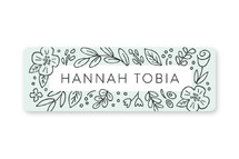 This is a green name label by Hooray Creative called Doodle Frame with standard printing on waterproof sticker paper in sticker.
