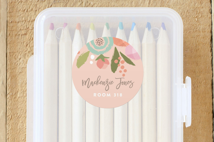 """Blooming Peonies"" - Custom Name Labels in Peach by Jennifer Wick."
