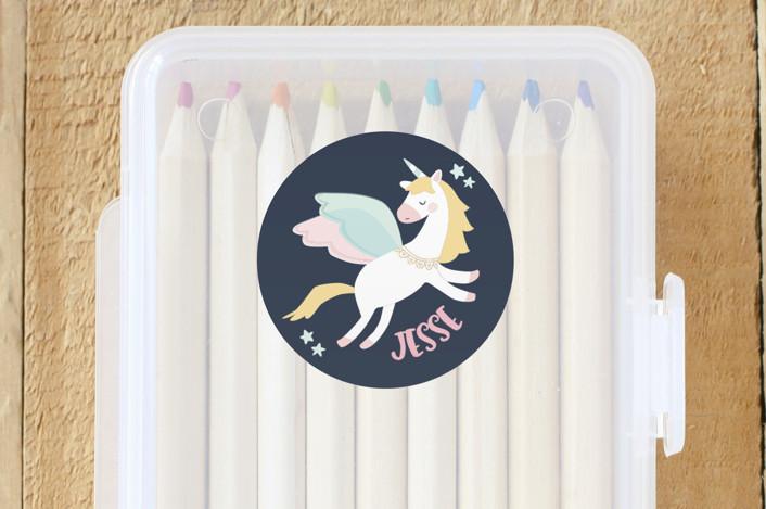 """Magical Pegasus"" - Custom Name Labels in Azure by peetie design."