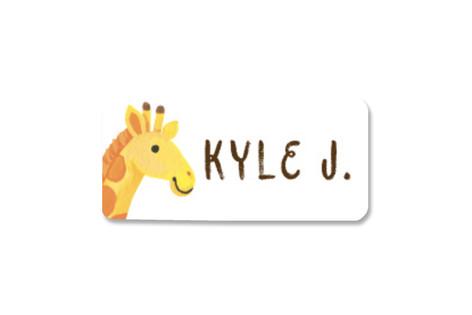 Smiley Giraffe Custom Name Label
