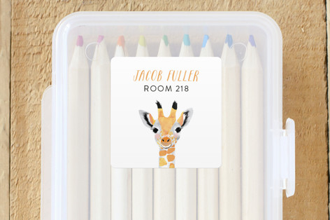 Baby Animal Giraffe Custom Name Labels by Cass Loh