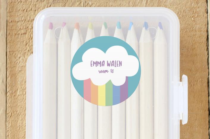"""Making Rainbows"" - Custom Name Labels in Clear Skies by Dawn Jasper."