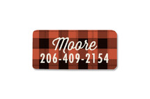 This is a red name label by Karidy Walker called Buffalo Plaid with standard printing on waterproof sticker paper in sticker.