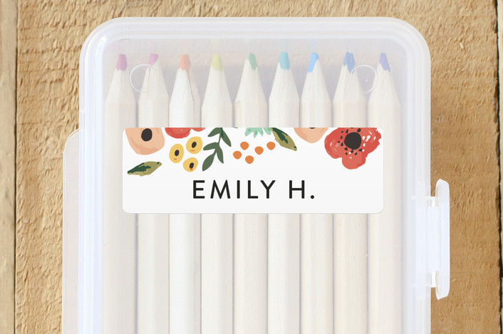 """""""Watercolor Flowers"""" - Custom Name Labels in Ruby by August and Oak."""