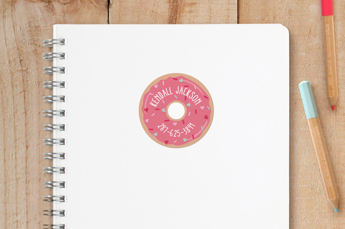 """""""Sweet Donut"""" - Custom Name Labels in Pink Icing by Hooray Creative."""