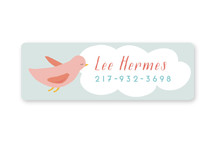 This is a pink name label by peetie design called Birdy with standard printing on waterproof sticker paper in sticker.