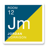 This is a blue name label by Jessica Williams called Modern Periodic with standard printing on waterproof sticker paper in sticker.