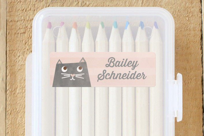 """""""The Cat's Meow"""" - Custom Name Labels in Blush by Shirley Lin Schneider."""