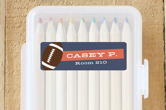 """""""Hey Sporty"""" - Custom Name Labels in Navy by Abby Munn."""