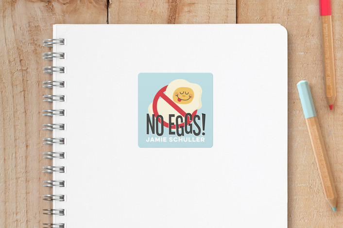 """No Eggs"" - Custom Name Labels in Robins Egg by Jessie Steury."