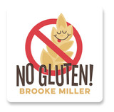 This is a brown name label by Jessie Steury called No Gluten with standard printing on waterproof sticker paper in sticker.