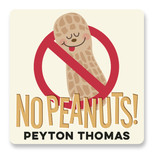 This is a yellow name label by Jessie Steury called No Peanuts with standard printing on waterproof sticker paper in sticker.