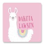 This is a pink name label by Karidy Walker called Llama Fun with standard printing on waterproof sticker paper in sticker.