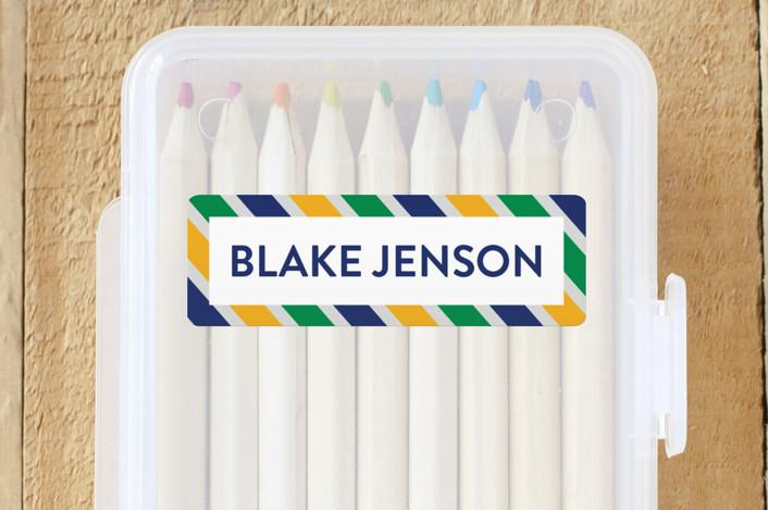 """""""Preppy Stripe"""" - Custom Name Labels in Seaweed by Jessica Ogden."""