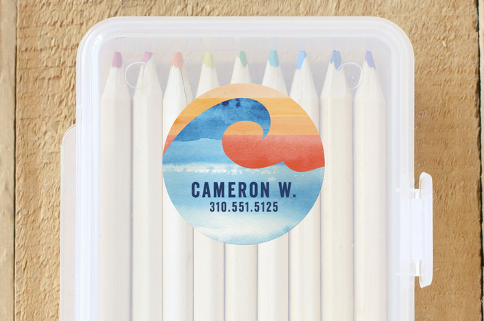 """Surfs Up"" - Custom Name Labels in Turquoise by Shirley Lin Schneider."