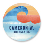 This is a blue name label by Shirley Lin Schneider called Surfs Up with standard printing on waterproof sticker paper in sticker.
