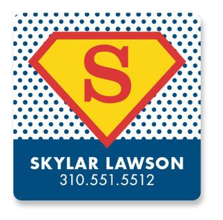 superhero Custom Name Label