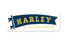 This is a blue name label by Shiny Penny Studio called All Star Pennant with standard printing on waterproof sticker paper in sticker.