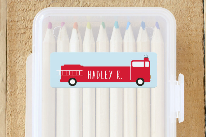"""""""Fire Engine Name"""" - Custom Name Labels in Clear Sky by Dea and Bean."""