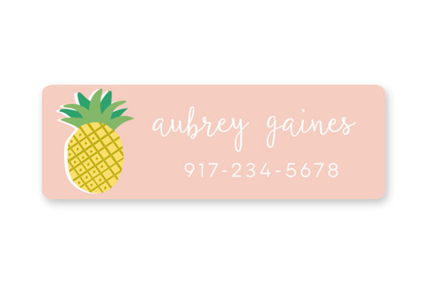 Gold Pineapple Custom Name Label