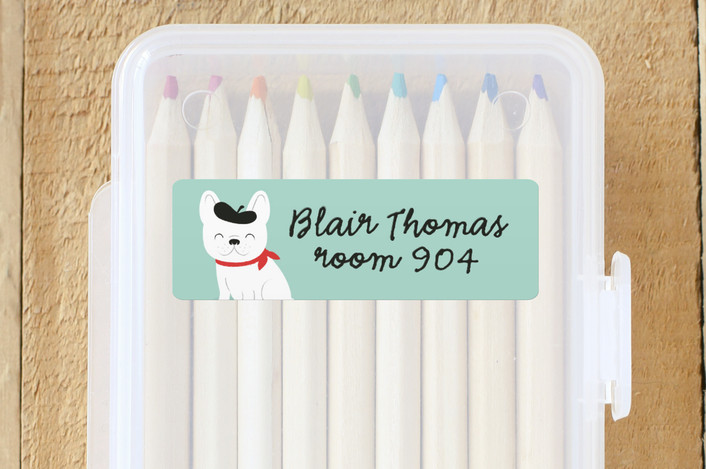 """""""Frenchie"""" - Custom Name Labels in Mint by Susan Asbill."""