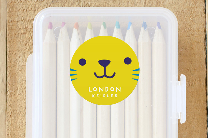 """Kitty"" - Custom Name Labels in Lemon by Lori Wemple."