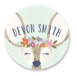 This is a colorful name label by Laura Hankins called My Deer with standard printing on waterproof sticker paper in sticker.