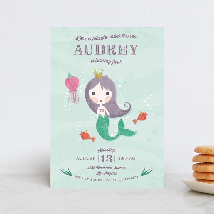 """Mermaid Princess"" - Children's Birthday Party Postcards in Wisteria by Aspacia Kusulas."