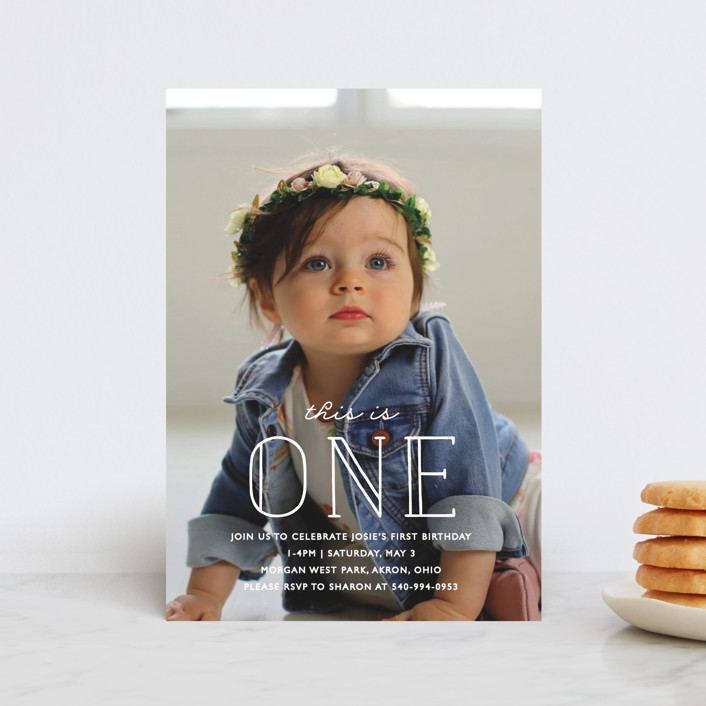 """""""This Is One"""" - Children's Birthday Party Postcards in Frost by Bethany Anderson."""