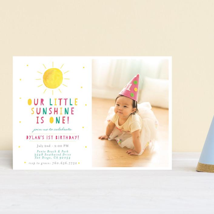 """Little Sunshine"" - Children's Birthday Party Postcards in Petal by Little Print Design."