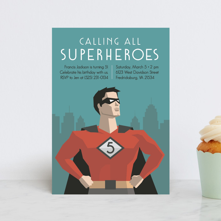 """""""Calling All Superheroes"""" - Children's Birthday Party Postcards in Fire by Jessica Prout."""