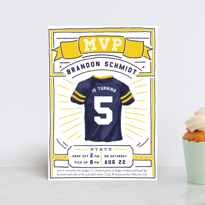 """""""MVP Collectors Card"""" - Children's Birthday Party Postcards in School Bus by Shiny Penny Studio."""