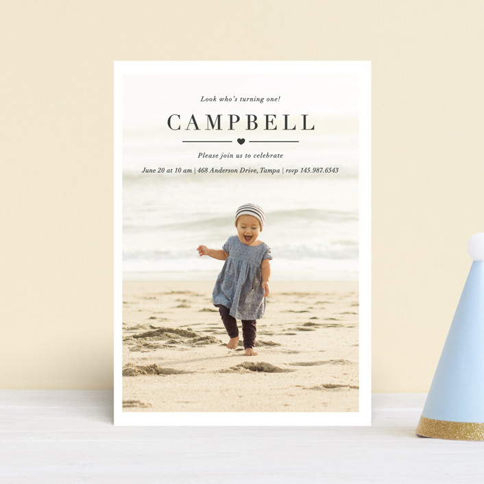 """""""Lovely"""" - Children's Birthday Party Postcards in Pebble by Kasia Labocki."""