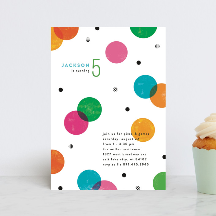 """""""Colorful Confetti"""" - Children's Birthday Party Postcards in Funfetti by Robert and Stella."""