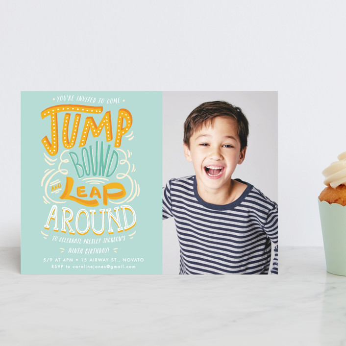 """""""Jump Bound & Leap"""" - Children's Birthday Party Postcards in Sky by Shiny Penny Studio."""