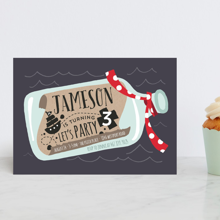 """""""Message In A Bottle"""" - Children's Birthday Party Postcards in Cherry Red by JeAnna Casper."""