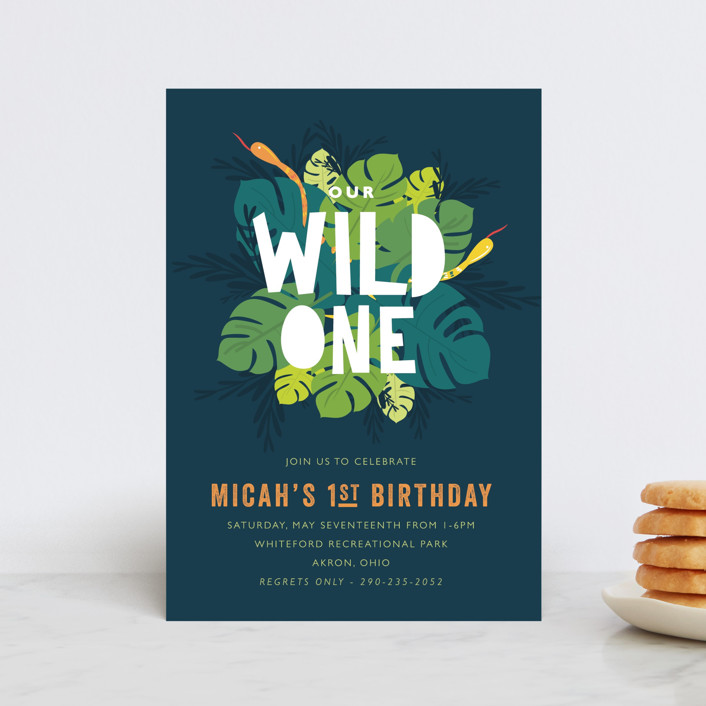 """Wilder"" - Children's Birthday Party Postcards in Jungle by Bethany Anderson."