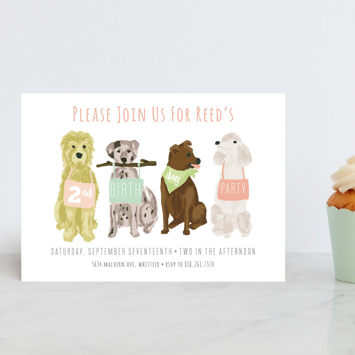 """Puppy Line-Up"" - Children's Birthday Party Postcards in Peony by Shiny Penny Studio."