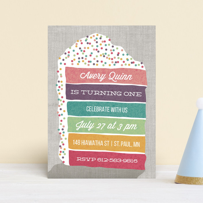 """""""Layer Cake"""" - Children's Birthday Party Postcards in Rainbow by Holly Whitcomb."""
