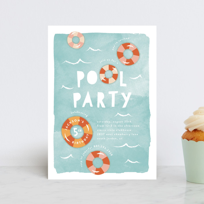 """Pool Party"" - Children's Birthday Party Postcards in Palm Springs by Robert and Stella."
