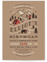 This is a brown kids birthday invitation by Jennifer Wick called Lumber Bears with standard printing on signature in postcard.